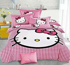 SinghsVillas Decor Hello Kitty King Size Double Bedsheet 2Pillow Cover Cotton