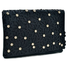 New Dasein Leather Evening Clutch Crossbody Day Bag w/ Floral Cutout Rhinestones