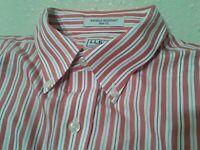 LL Bean Mens Button Down Shirt Pink Salmon White Stripe Short Sleeve Large Reg