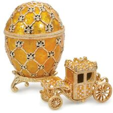 Russian Faberge Egg Replica Jewelry Box Made Russia Easter Coronation Carriage
