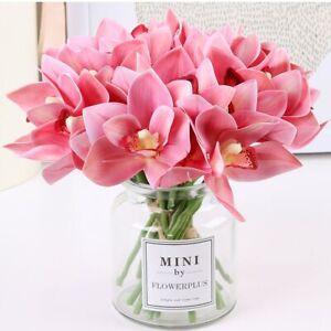 6Pcs/Set Artificial Flowers Orchid Real Touch Cymbidium Flower Home Flower Decor