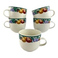 Tienshan Intro Orchard Set of 5 Coffee/Tea Cups Stoneware Fruit Design Border