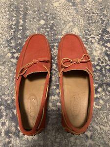 mens Tods drivers red orange unique color suede size 8 shoe
