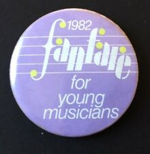 Vintage Badge FANFARE 1982 For Young Musicians TV SHOW Pin 3.75 cm