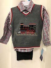 Good Lad Boy 24 mo Train Engine Gray Vest Black Corduroy Pant Shirt Set NEW $58
