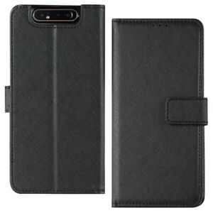 For Samsung Galaxy A80 Wallet Case Protective Cover w/ Card Holder & Stand Black