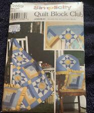SIMPLICITY PATTERN 9169 QUILT BLOCK CLUB PILLOW wall quilt valance chair back
