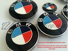 WHITE BLUE RED MSPORT Badge Overlay WRAP FOR BMW HOOD TRUNK RIMS @FITS ALL BMW@