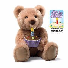"""Happy Birthday Singing Animated Tan Teddy Bear GUND  17"""" H Age 3+ NWT"""