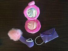 Build a Bear Babw Accessory Pink White Fur Makeup Blush Compact & Purse Guc