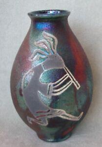 "STEPHAN ROY 5"" Tall Iridescent Green/Copper Kokopelli Raku Pottery Vase Signed"