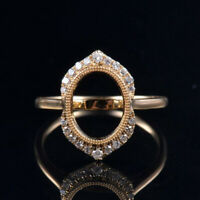 Vintage Oval 8x10MM Solid 14K Yellow Gold Natural Diamond Bezel Semi Mount Ring