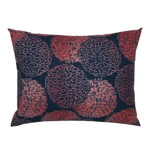 Chrysanthemum Floral Mum Asian Coral And Navy Peony Pillow Sham by Roostery