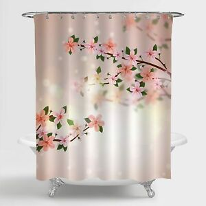 Nice Pretty Pink Floral Flower Blossom Cute Fabric Shower Curtain Farmhouse Boho