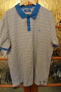Adidas grey blue striped polo shirt XXL