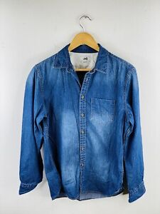 JAG Men's Long Sleeve Denim Shirt Size M Blue Slim Fit Button Up Collared Pocket
