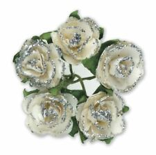 144 SILVER WHITE PAPER TEA ROSES ON STEMS FLOWERS 15mm CRAFT WEDDING BOUQUET