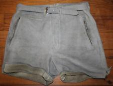 LEDERHOSE  orig. alte abgerockte kurze Lederhose graues NUBUKLEDER  BW ca. 88 cm