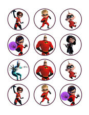 Incredibles edible party cupcake toppers decoration frosting toppers 12/sheet