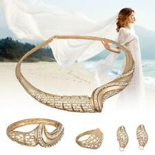 African Costume Gold Plated Crystal Wedding Party Necklace Ring Jewelry Sets T#