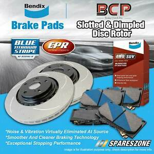 Front Slotted Rotors Bendix Brake Pads for Toyota Kluger GSU40 45 50 55 Vellfire