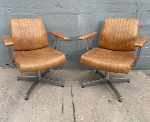 Atomic Mid Century Salon Accent Chair Set Chrome & Vinyl Belmont Takara