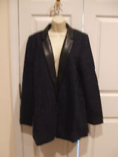 nwt $100worthington herringbone donegal faux leather trim blazer size tall-large