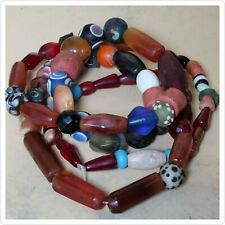 antique  African agate carnelian jade mixed stones & glass necklace 30 inch