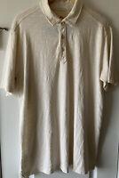 Tommy Bahama Men's Large Beige Pima Cotton Short Sleeve Golf Polo Shirt