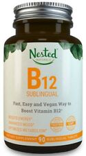 Nested Naturals B12 Sublingual Fast Dissolve Energy Mood Metabolism 90 Tabs