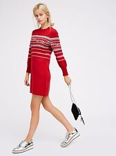 New Free People Hot Cocoa Mini Sweater Dress Size S Wool Blend Red $128