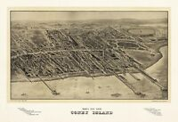 MAP AERIAL BIRDS EYE CONEY ISLAND NEW YORK CITY 1906 ART PRINT POSTER LF2493