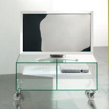 CARRELLO porta tv lcd in VETRO con RUOTE Ebox ripiano in acciaio DESIGN MODERNO