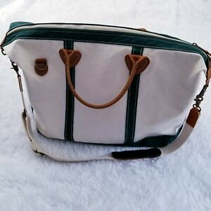 LL Bean Boat & Tote Big Travel Luggage Canvas Crossbody Green with Leather Trim
