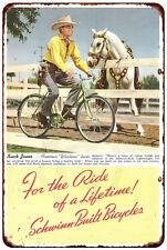 1941 Schwinn Bicycles Buck Jones Vintage reproduction metal sign 8 x 12
