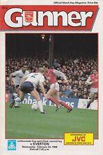 Football Programme>ARSENAL v EVERTON Feb 1988 FLC SEMI-FINAL