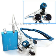 Dental Surgical Medical Binocular Loupes 3.5X 420mm + LED Head Light Lamp S+R