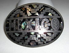 VTG ORNATE MEXICO HAND CARVED ALPACA ABALONE MOTHER OF PEARL ENAMEL BELT BUCKLE