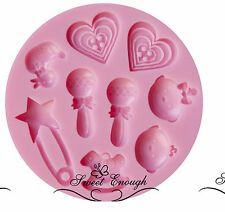 Baby BOY GIRL Silicone Cake toppers  Mould Mold Birthday Shower Christening