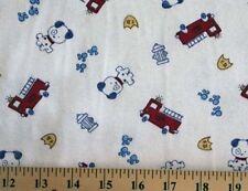 Scrubs Medical Firetrucks on White Scrub Cotton Blend Knit Fabric Print D346.05