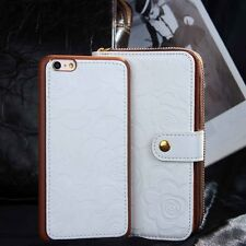 Removable Magnetic Wallet Case for iPhone 6+ Plus Camellia Luxury Designer Girls