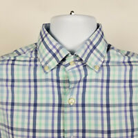 Peter Millar Summer Comfort Blue Green Plaid Mens Dress Button Shirt Size Medium