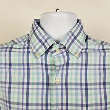 Peter Millar Summer Comfort Blue Green Plaid Mens Dress Button Shirt Size Medium
