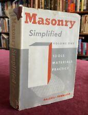 1956 Masonry Simplified Volume 1 Tools Materials Practice Stonework Book