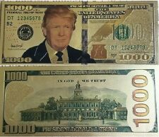 President Donald Trump - Gold Foil Plating  $1,000.00 Novelty Note   **2 NOTES**