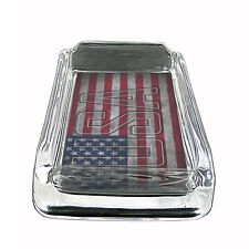 """Vintage American Flag Glass Ashtray D7 4""""x3"""" United States of America"""