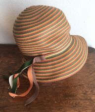 Vintage Mr.John Tall Hat Orange Green Yellow Ribbon Church Derby Slouchy Cloche