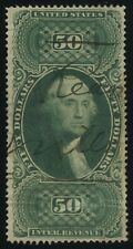 #3 R101c $50 INTERNAL REVENUE First Issue Tax Stamp CV$210 Manuscript Cancel