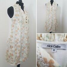 Ladies ALICE COLLINS Floral Dress Sz 10 Linen Cotton Beige Pockets Summer Retro