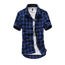 Hombre Elegante camisa clásica de cuadros Corte Slim Casual Camiseta manga